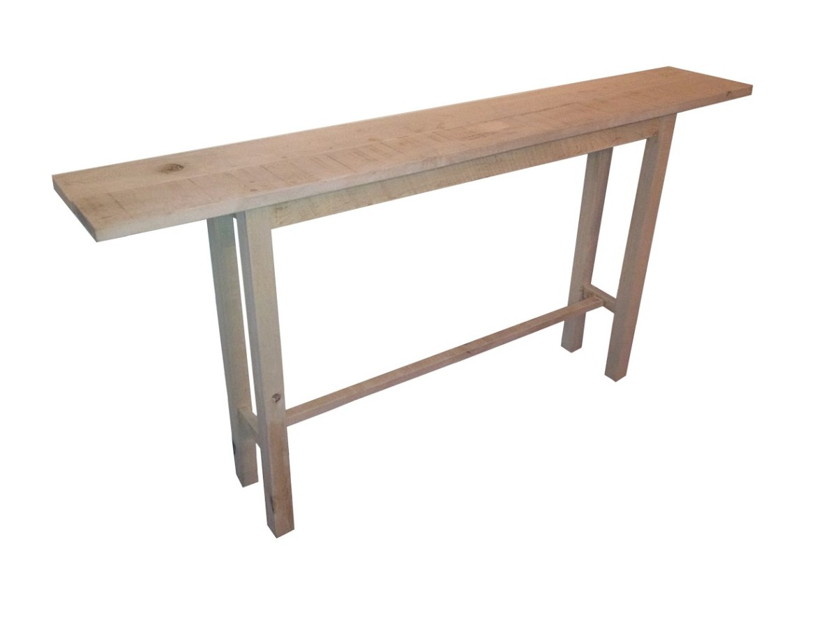thin table against wall